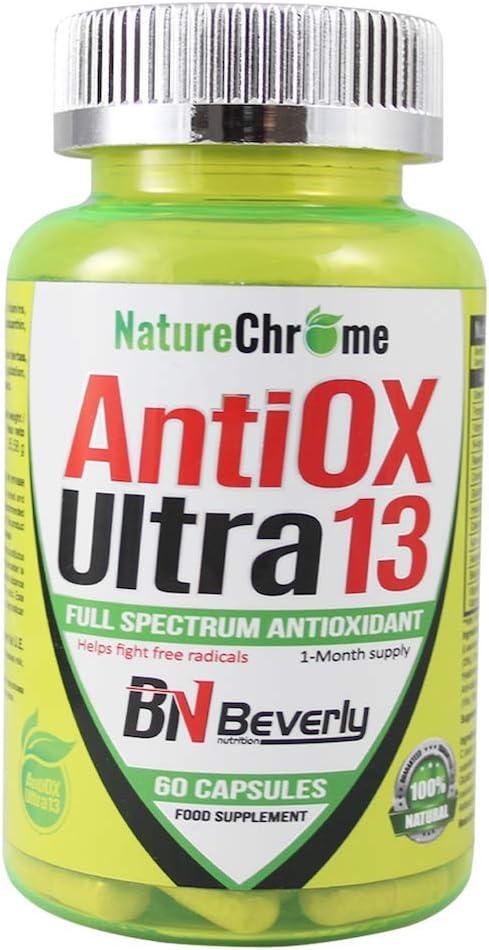Antioxidante potente con fórmula mejorada. Mezcla 13 ingredientes antioxidantes naturales. Con coenzima Q10, ácido hialurónico, vitamina C, extracto de té verde, entre otros. Envase de 60 cápsulas.