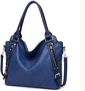 Women's square bag, pu handbag, must-have shoulder bag out of the street, large-capacity crossbody bag, adjustable shoulder strap, a variety of colors (Color : Blue, Size : One size)