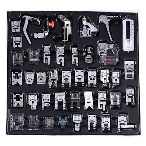 Juego de prensatelas para máquina de coser profesional de 42 piezas, juego de pies prensatelas multifuncional para máquina de coser, piezas de máquina de coser para el hogar