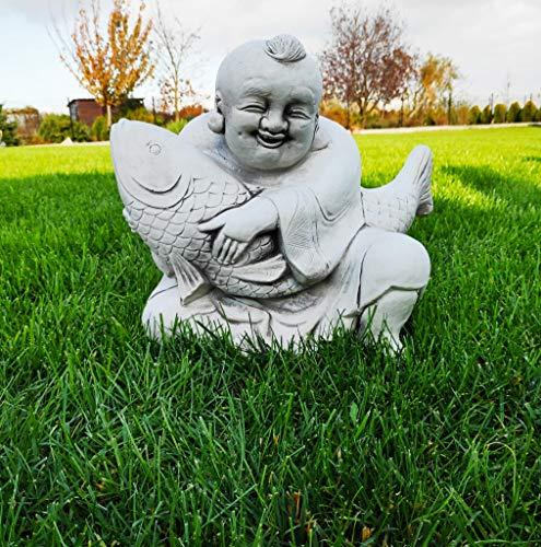 Garten Ornament Konkreter glücklicher Buddha mit Fischen
