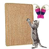 Katzenkratzmatte,Kratzmatte für Katzen,Natur Sisal Kratzkatzenkissen Katzenkratzkrallen Rutschfestes Katzenkrallen Pflegespielzeug,Schützt Teppiche und Sofas 600 x 400 mm