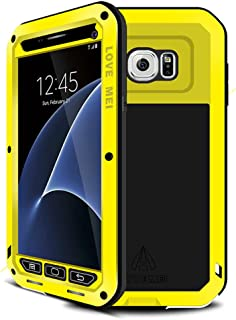 Galaxy S7 Case,Mangix Love Mei [Newest] Gorilla Glass Luxury Aluminum Alloy Protective Metal Water Resistant Shockproof Military Bumper Heavy Duty Cover Shell Case for Samsung Galaxy S7 (Yellow)