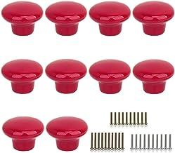 10 Stks Ronde Vorm Keramische Deurknop Dressoir Lade Locker Pull Handgrepen Kast Knoppen met 3 Size Schroeven (rood)