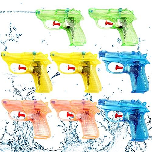 CHEPL 8 Pistolas de Agua para Niños,Pistola de Agua Juguete,Pistola de Agua Alcance Largo,Tirador Juguete Infantil para Batalla de Agua, Playa, Piscina(Cuatro Colores)