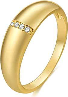yfstyle 18k Gold Plated Cubic Zircon Engagement Ring for Women Girls Chunky Dome Band Ring Minimalist Promise Rings Baroqu...
