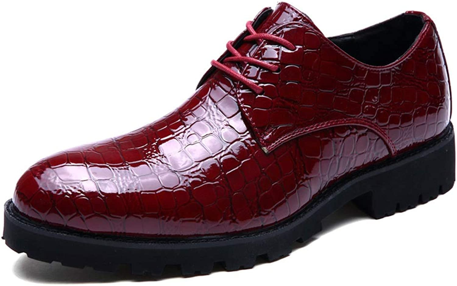 CHENDX shoes, Men's Fashion Low Top Lace Up Oxford Casual Comfort Classic Plain Patent Leather Waterproof Leisure shoes (color   Red, Size   6.5 UK)