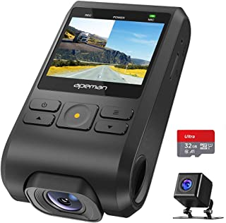 【進化版】 APEMAN ドライブレコーダー 前後カメラ 32Gカード付き 1080PフルHD 1200万画素 170度広角 GPS機能搭載 小型2インチ デュアルレンズ Gセンサー搭載/WDR/夜間対応/常時録画/駐車監視/動き検知/ドラレコ 車載カメラ 防水カメラ