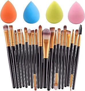 Juego de 4 esponjas de maquillaje con 20 brochas de maquillaje, 4 colores de base de maquillaje y esponjas de maquillaje profesional para sombra de ojos