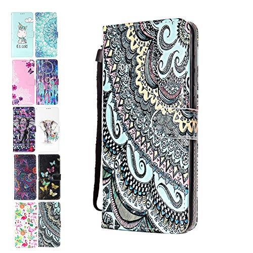 Ancase Lederhülle kompatibel für Samsung Galaxy A10 / M10 Hülle Mandala-Spitze Muster Handyhülle Flip Hülle Cover Schutzhülle mit Kartenfach Ledertasche für Mädchen Damen