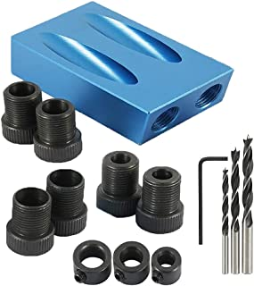 Pocket Hole Screw Jig Dowel Drill Joinery Kit, Hole Drive Adapter 15 Degree Pocket Hole Jig Kit Woodwork Guides Joint Angl...