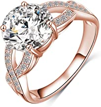 LuckyWeng New Exquisite Fashion Jewelry Rose Gold Cross Austrian Crystal Diamond Zircon Ring