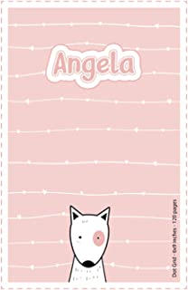 Angela: Personalized Name Dot Grid Paper Notebook Light Pink Dog | 6x9 inches | 120 pages: Notebook for drawing, writing n...