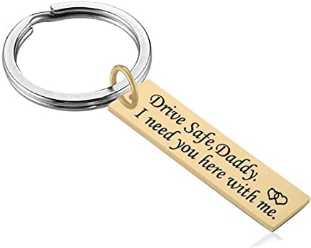 "AMdxd Stainless Steel Keychain Men""Drive Safe, Daddy,I Need You here with me."" Silver Key Chain Tags"
