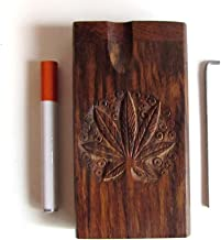 Raw Natural Wood Stash Box with Bat and Cleaning Tool (Leafy)