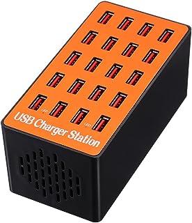 KKmoon 20ポート USB充電ステーション USB急速充電器 80W 5V 2A スマート充電ステーション USBコンセント 自動検出技術 折り畳み式プラグ iPhone 7S / 6S / 5S / 4S iPad PDA Samsun...