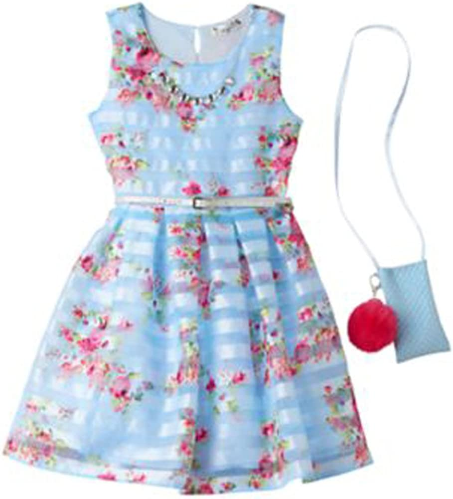 Knitworks Girls Floral Shadow Stripe Special Occasion Dress, Blue