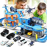 TONGJI Garage Voiture Enfants, Garage Jouet Enfant, Parking Jouet - 3 Etages Parking et Station Service avec 3 Vehicule Miniature et 2 hélicoptère, 85 x 30 x 26cm