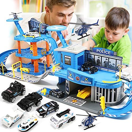 TONGJI Parkgarage für Kinder, Parkhaus Spielzeug, Groß Parkgarage Spielset mit 3 Ebenen und Zubehör Parkhaus Auto Spielzeug Garage für Kinder (85 x 30 x 26cm)