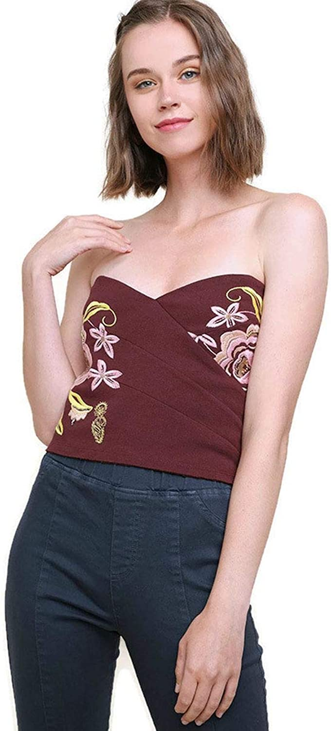 Umgee Women's Bead & Embroidered Crop Top