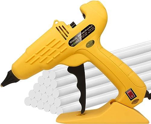 Pistolet à Colle Chaude, Wiecok Pistolets à Colle Électriques 60W avec 20 Bâtons de Colle (11mm), Chauffage Rapide et...