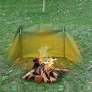 KOSIEJINN Pare-Vent Pliable Toile De Coupe-Vent pour Réchaud Camping Pare-Vent Pare-Brise Extérieur Portatif De Cuisinière De Camping pour Le Camping De Pique-Nique De Barbecue(S)
