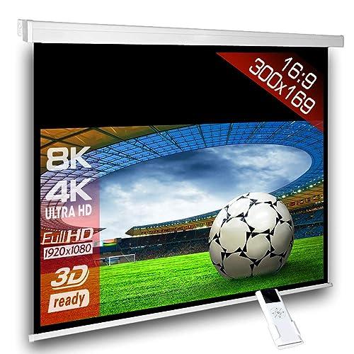 Écran de projection motorisé 300 x 169 cm SlenderLine Plus, Format 16:9 FULL-HD 3D 4K 8K, Écran de projection électrique pour vidéoprojecteur, Home Cinema, pour Mur ou Plafond, avec Télécommande