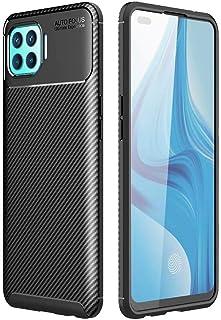 Dalchen for OPPO F17 Pro Carbon Fiber Ultra Slim Case, Silicone Soft TPU Minimalist Shockproof Protective Cover in Black, ...