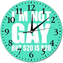 I'm Not Gay But 20 is 20 White Wall Clock Silent no tick Quality Wall Clock no tick, no Border 10 inch Wall Clock, Home Wall Clock