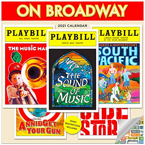 On Broadway Calendar 2021 Bundle - Deluxe 2021 On Famous Theater Playbills Wall Calendar with Over 100 Calendar Stickers (Theatrical Gifts, Office Supplies)