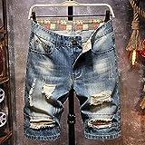 Short Homme Bermudas Sport Short en Jean Déchiré De Style Rétro pour Hommes D'Été New Street Fashion Slim Hole Short Jeans Homme Marque Vêtements 36 Bleu