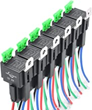 MICTUNING 12V Fuse Relay Switch Harness Set - 30A ATO ATC Blade Fuse, 5 Pin SPST Automotive Electrical Relays with Heavy Duty 14 AWG Wires - 6 Pack
