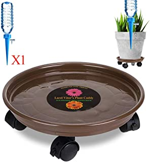 Murilan Rolling Plant Pallet Caddy with Wheels, Round Flower Pot Mover, Indoor Rolling Planter Dolly on Wheels, Outdoor Planter Trolley Tray Coaster Heavy Duty, Brown (1 Pack)