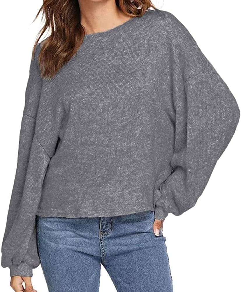 Baiggooswt Autumn Womens Casual Long Ne Sleeves Round Color free Pure Max 60% OFF