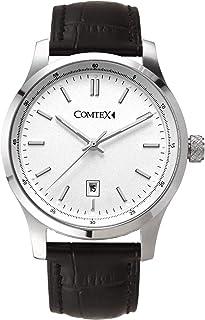 Montre-bracelet à quartz Comtex analogique en cuir noir à cadran blanc avec fenêtre de date Rés...