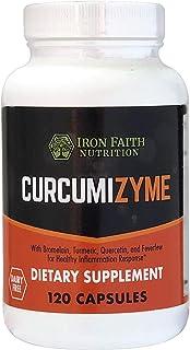 Iron Faith Nutrition Curcumizyme Joint Relief & Healthy Inflammation Support - Bromelain 500mg /Turmeric 300 mg/ Quercetin...
