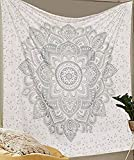 Aakriti Gallery Tapestry Queen Ombre Gift Hippie Tapestries Mandala Bohemian Psychedelic Intricate Indian Bedspread 92x82 Inches (New Silver)