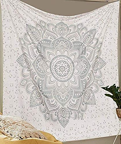 Aakriti Gallery Tapestry Queen Ombre Hippie Tapestries Mandala Bohemian Psychedelic Intricate Indian Bedspread 92x82 Inches (New Silver)