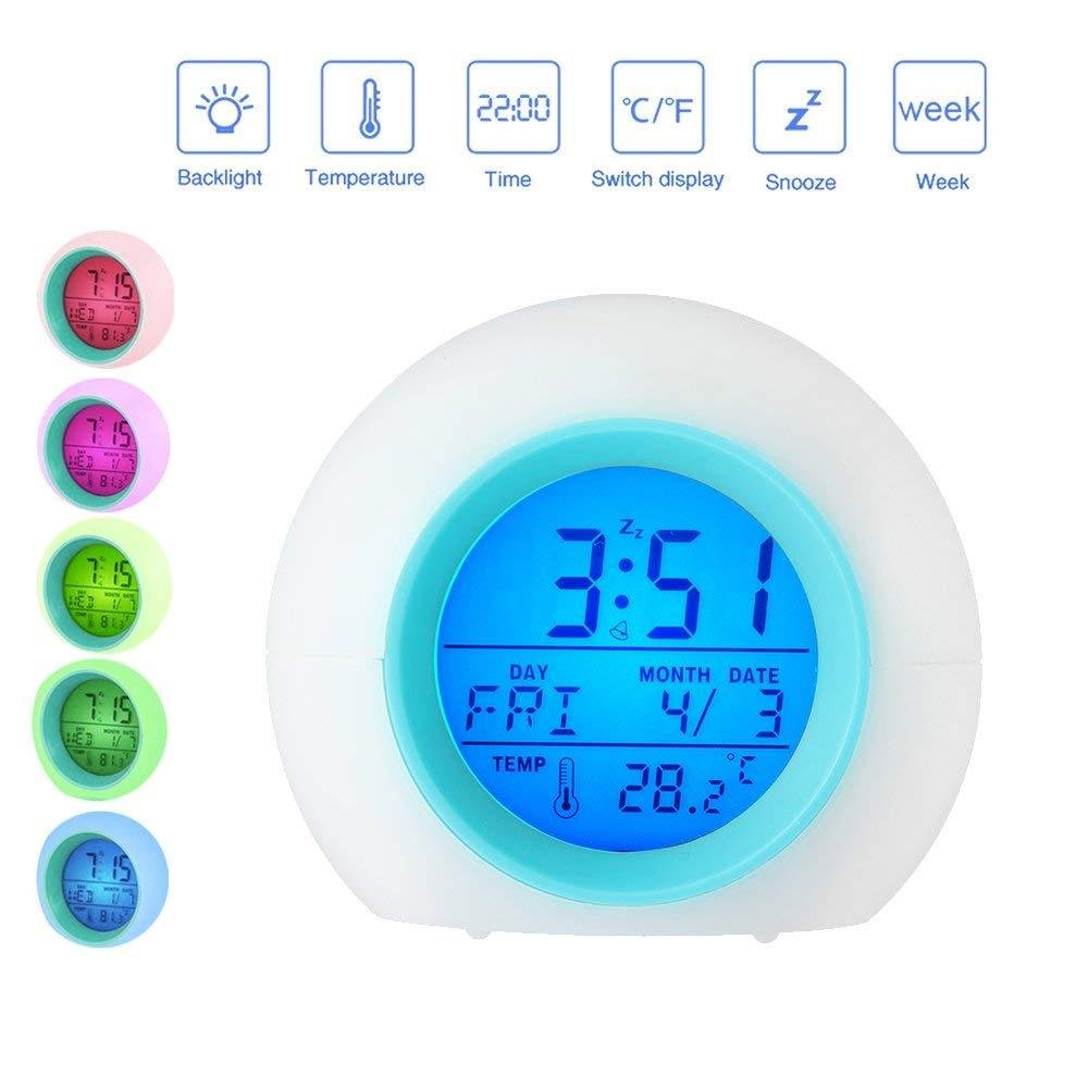 Colourful Light Together With Melodie Natural Music Toddlers Send Nature Change 7 Colours of Bright and Warm Color Teens green Alarm Clock LED Wake-up Light with Temperature Alarm Clock for Adult Children