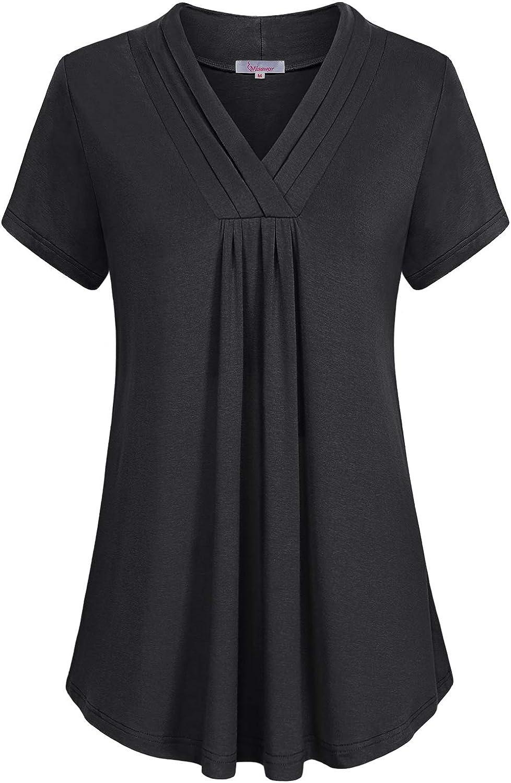 Misswor Finally resale start Womens Cheap bargain Short Sleeve Triple Pleat V Casual Neck Tunic Shi
