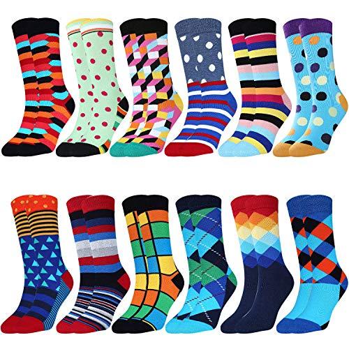 Jielucix Bunte Socken Damen Lustige Baumwolle Farbige Anzugsocken für Frauen 12er Pack,Bunt, 39-42, Bunt A