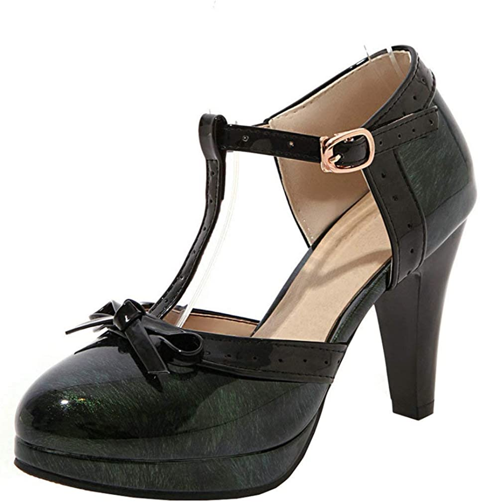 LUXMAX Womens Bowtie Chunky Platform Strap Pumps Mary Atlanta Complete Free Shipping Mall T Janes