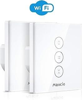 Maxcio Interruttore da Parete per Motore Tapparelle Elettriche, Interruttore Smart per Avvolgibili Tapparelle WiFi Compatibile con Alexa Echo e Google Home, Curtain Switch Touch Control, Timer-2 Packs