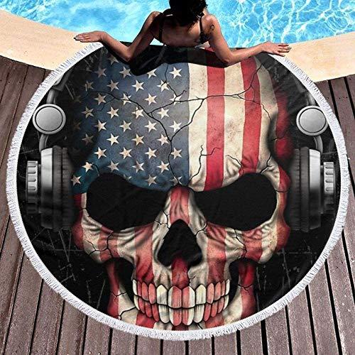 HYZDR Toalla De Playa Redonda,Láminas De Baño De Microfibra Impresora 3D Extra Grande DJ Skull con Bandera Americana Música Manta De Tiro De Playa Toallas De Playa Grandes Alfombra De Picnic Estera