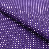 Hans-Textil-Shop Stoff Meterware Punkte 2 mm Weiß auf Lila