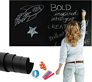 ZHIDIAN Large Magnetic Chalkboard Sticker for Wall   Non-Adhesive Back Blackboard Contact Paper   48 x 36 Inches, Thick and Removable