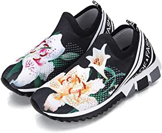 Women Sneakers Print Flower Shoes Wedges Height Increasing Chunky Thick Sole Platform Vulcanized Ladies Loafers,01,36