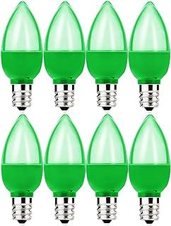 8 Pack c7 LED Green Light Bulb 1W Night Light Bulb Mini LED Bulb Candelabra E12 Base Decor Green Bulbs or Salt Lamp, Strin...