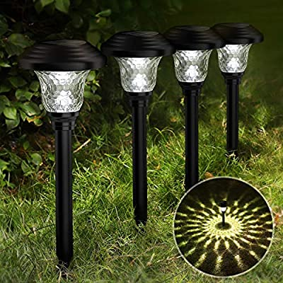 Balhvit Glass Solar Lights Outdoor, Solar Pathway Lights 8 Pack, 10-12 Hrs Long Last 10 Lumens Garden Lights Solar Powered Waterproof, Super Bright Auto LED Landscape Lighting for Yard Patio Walkway