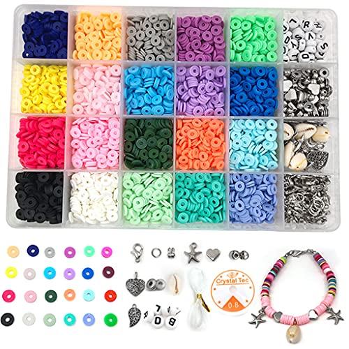 Sharplace 4275Pcs / Lot Clay Bead 6mm Round Loose Spacer Beads 24 Colores Mezclados para Pulsera Pendientes Fabricación de Joyas Artes Reparación de Joyas Fabri - Plata, Individual