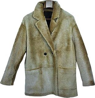 Il Pellettiere Italiano Giacca di Pelliccia da Donna in Vero Shearling Tg 42 Color Sabbia